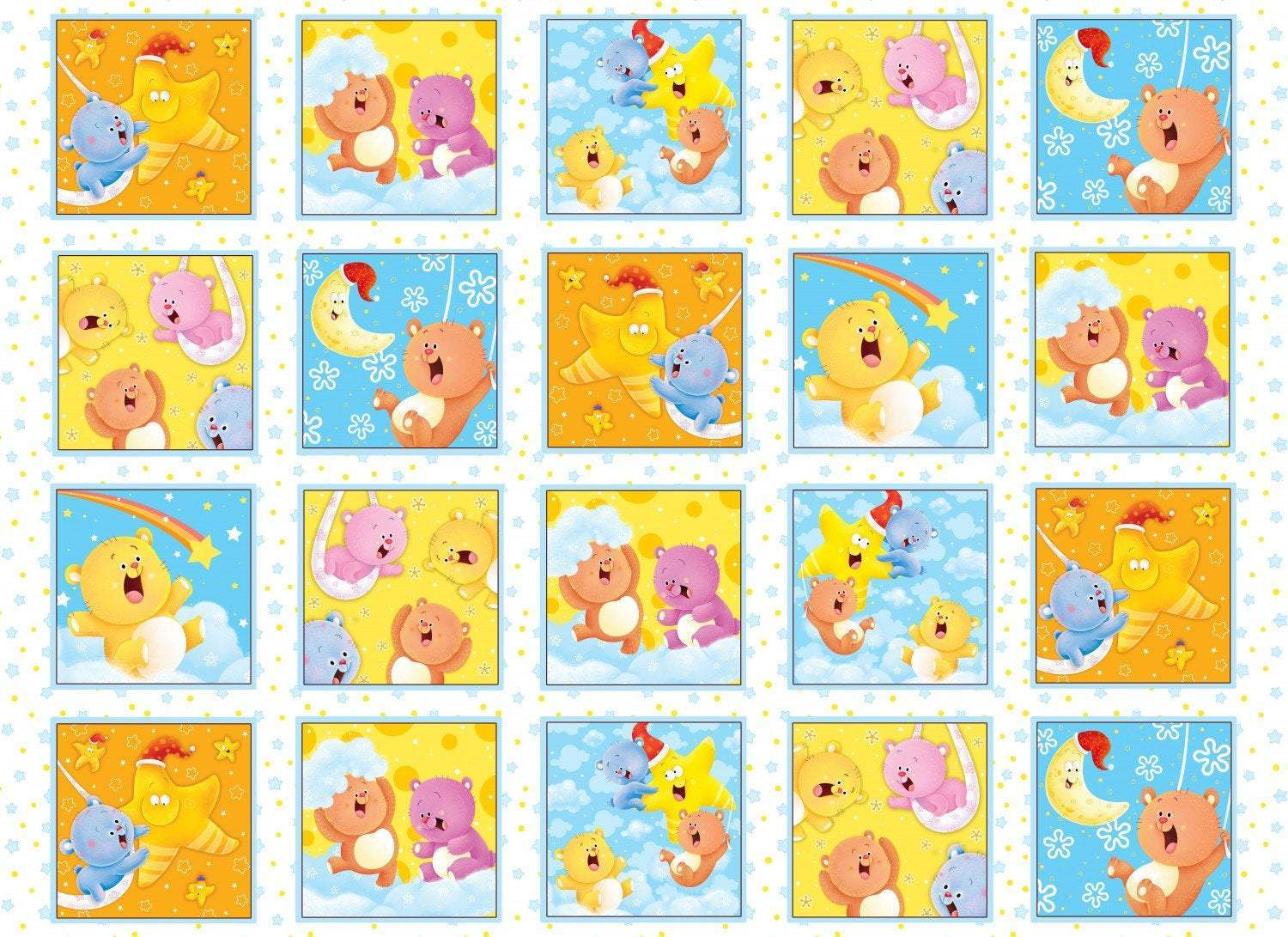 WISH UPON STAR, Children's Cotton Flannel Blocks Panel by Henry Glass  24 x 44 inches