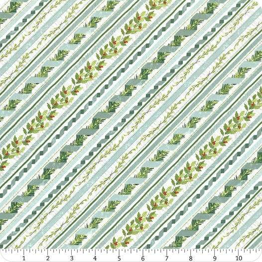 Woodland Friends Teal Ticking Holiday Fabric 44 Inches