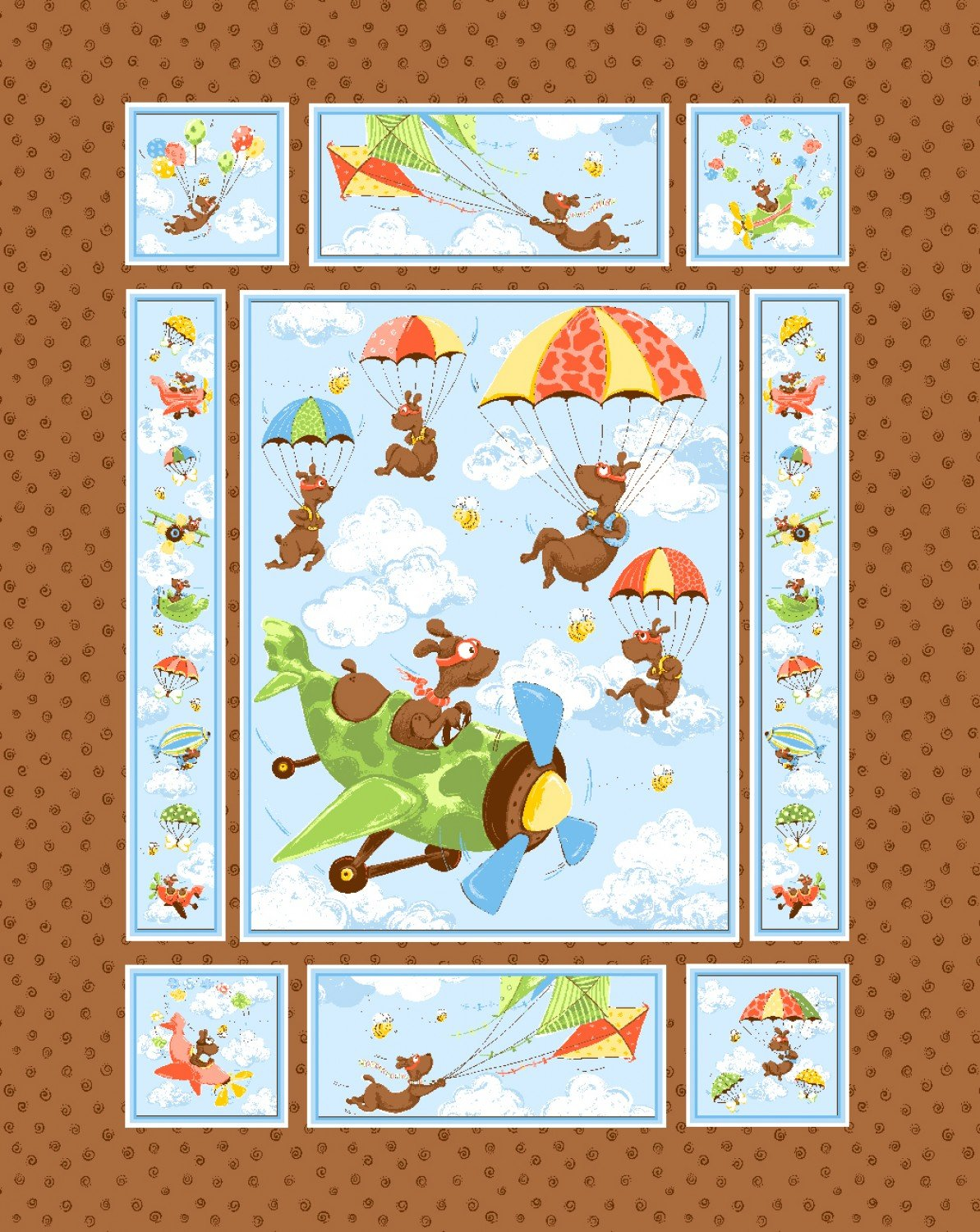 Zig The Flying Ace Children's Fun Fabric Panel