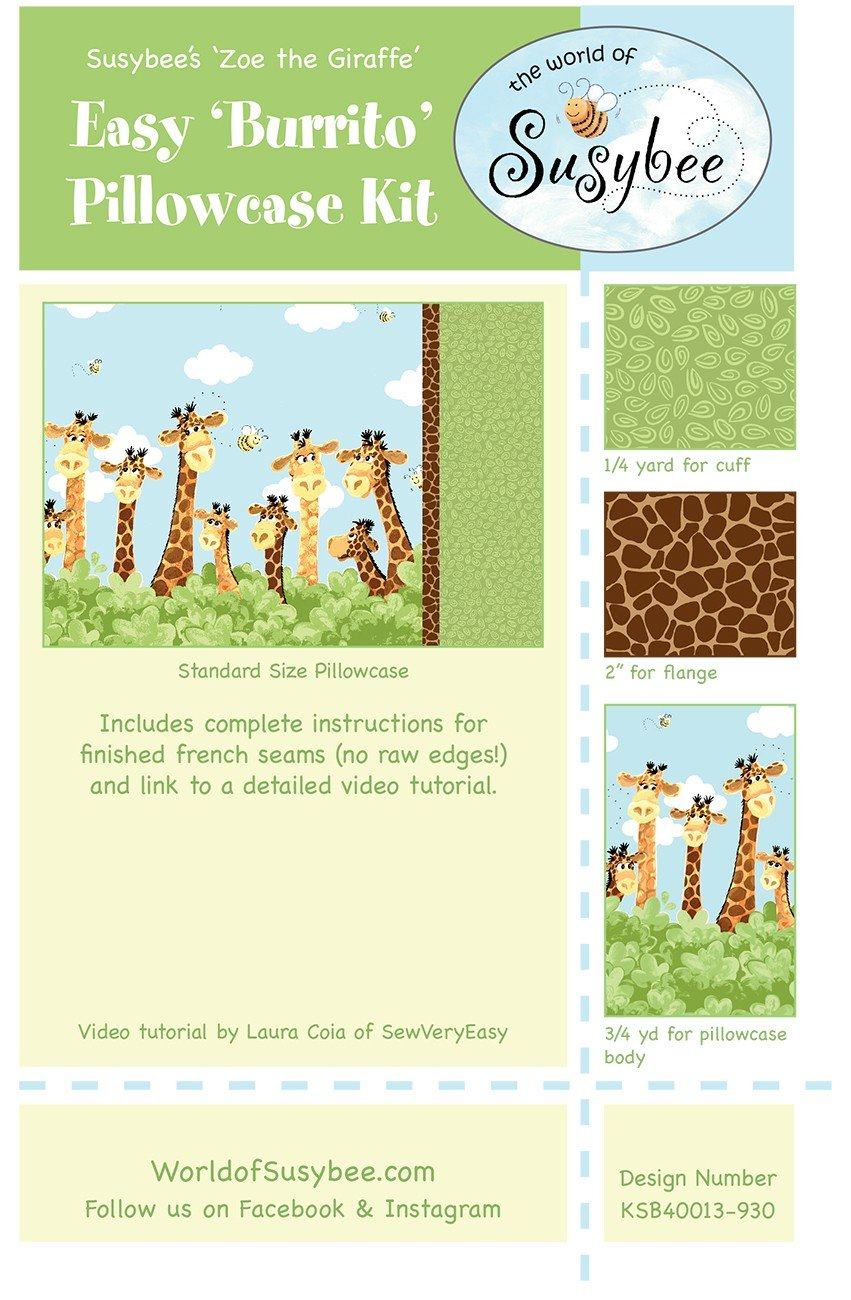 Zoe The Giraffe Fabric  Burrito Style Pillowcase Kit from Susybee
