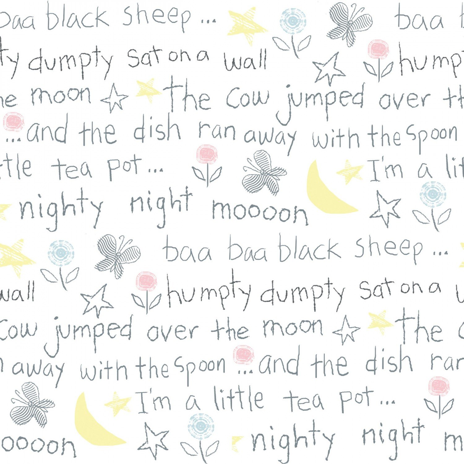 White Nursery Rhymes Comfy Flannel 44/45 Inches Wide