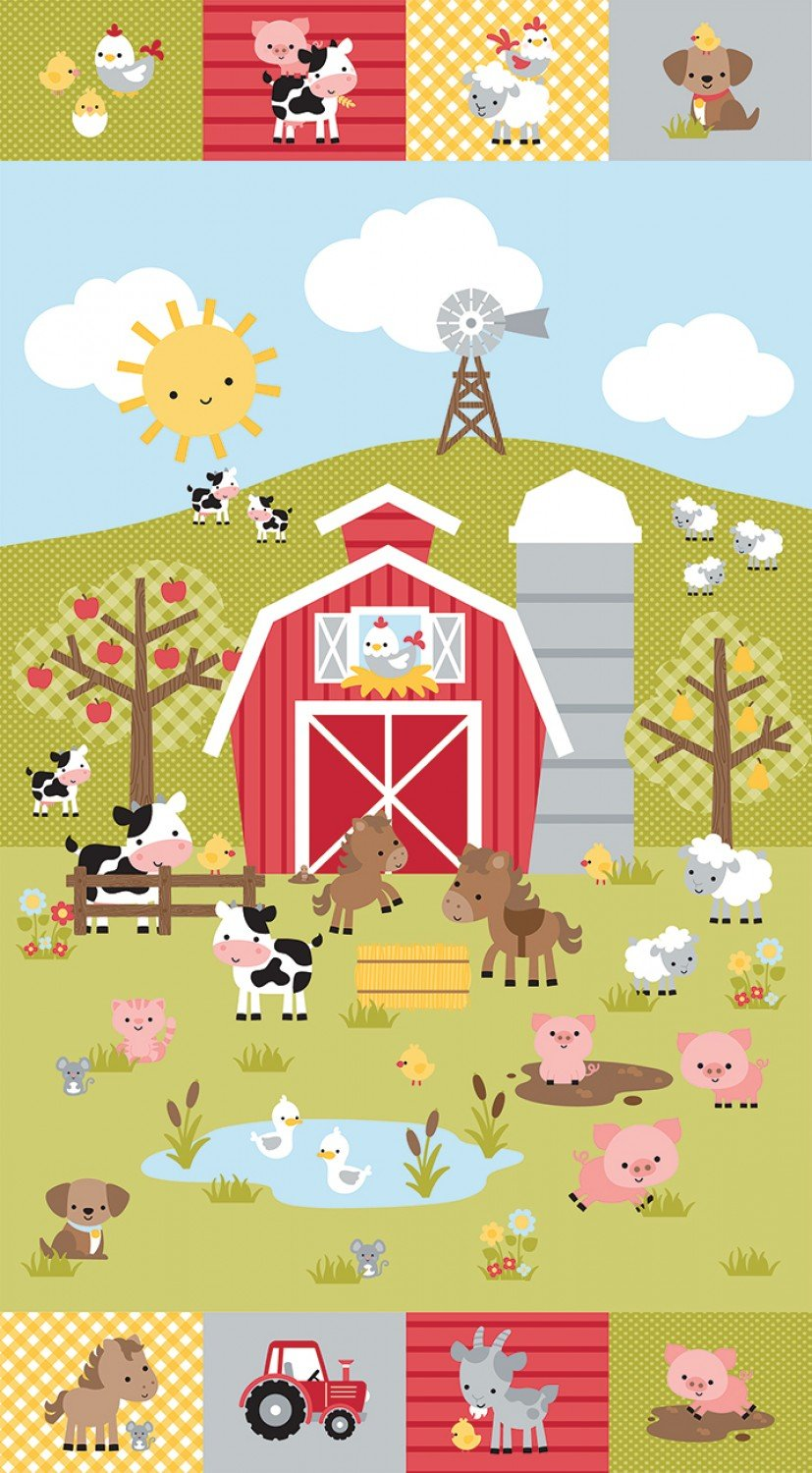 Down On The Farm Children's Fabric Panel 24 x 44 Inches