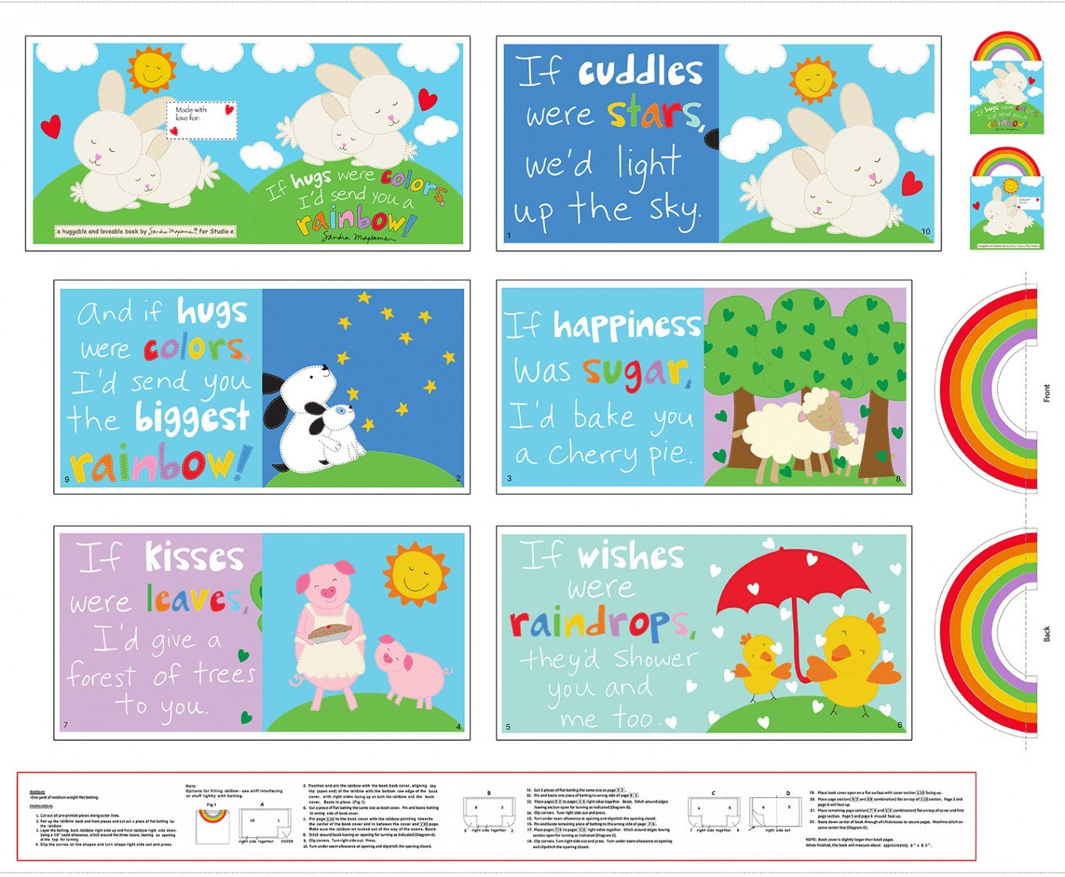 Rainbow Hugs Huggable and Loveable Book 36in Panel
