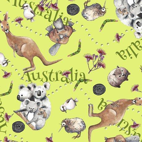 Kiwis and Koalas Multi/Green Kids Fabric