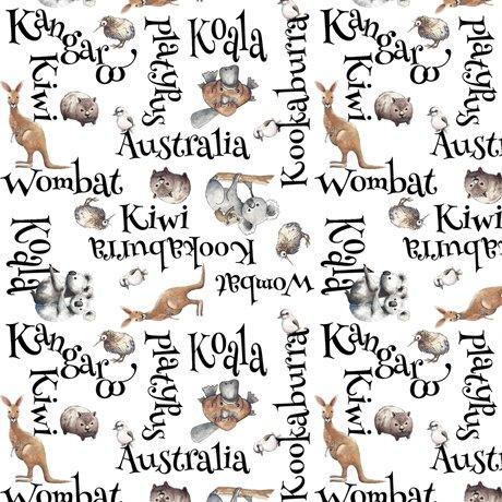 Kiwis and Koalas Word Toss Multi/White Children's Fabric Yardage Cotton 43/44 Inches Wide