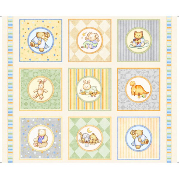 Lullaby Baby Animal Fabric Panel