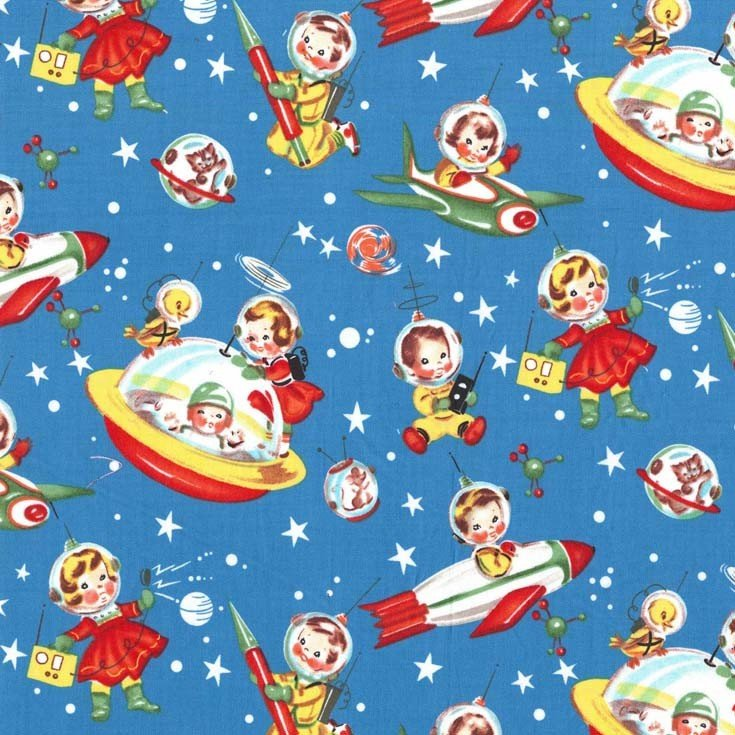 Retro Rocket Rascals Children's Fabric from Michael Miller 44/45 Inches Wide