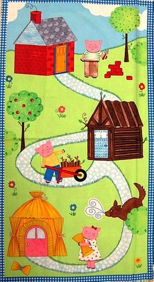 The Three Little Pigs Children's Cotton Fabric Panel 23.5 x 43 Inches