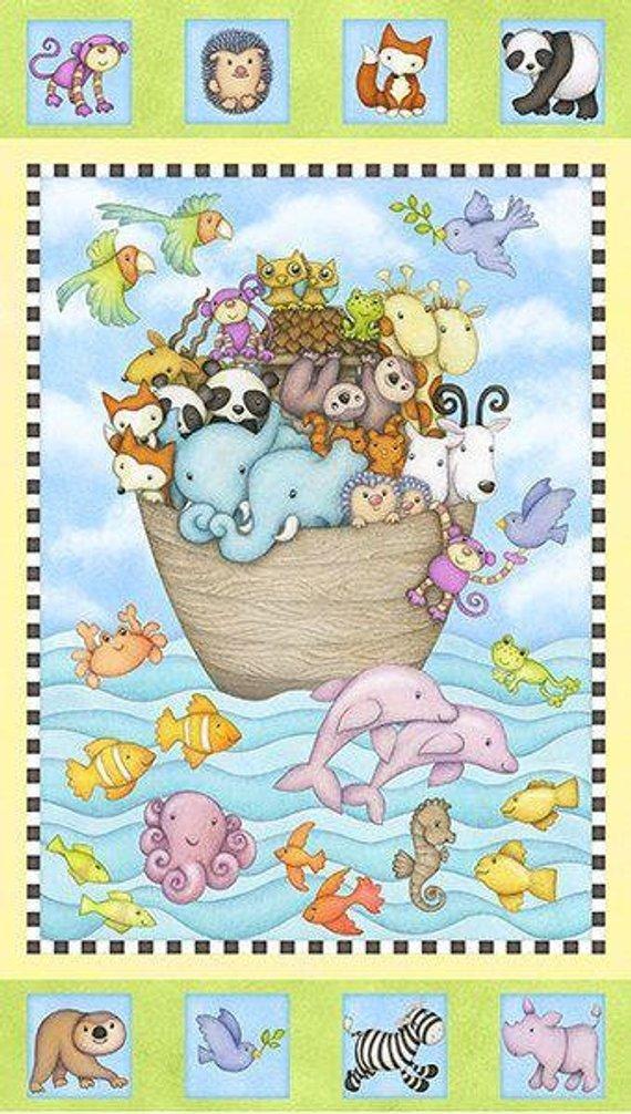 Noah's Ark Two By Two Cotton Panel