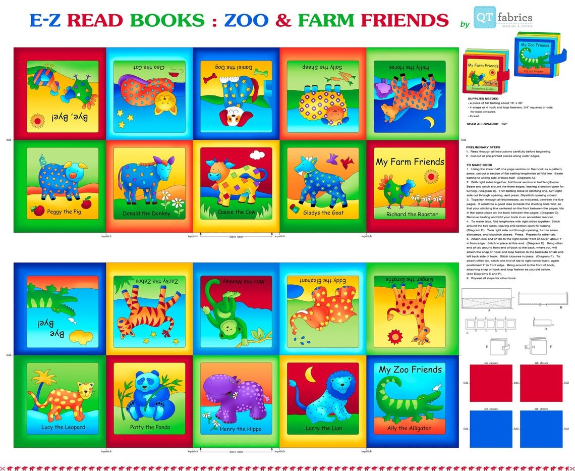 Zoo and Farm Friends Children's Cloth Book Panels To Sew by Quilting Treasures