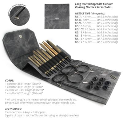 Lykke Interchangeable Long Circular Knitting Needle Set Driftwood - Grey Denim