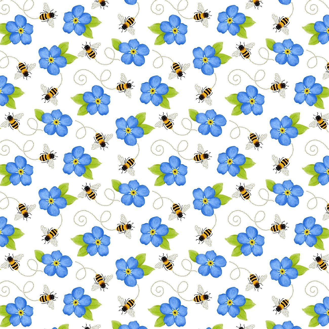 Tossed Bees and Blue Flowers