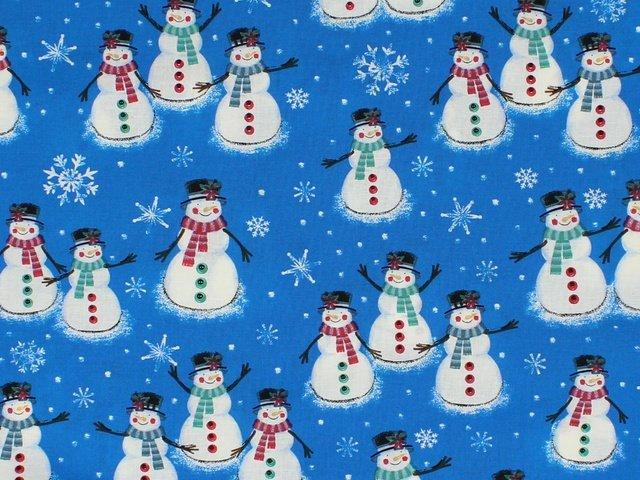 Choice Fabrics - Merry Christmas Basics - Blue Snowman (BD-49805-A02)