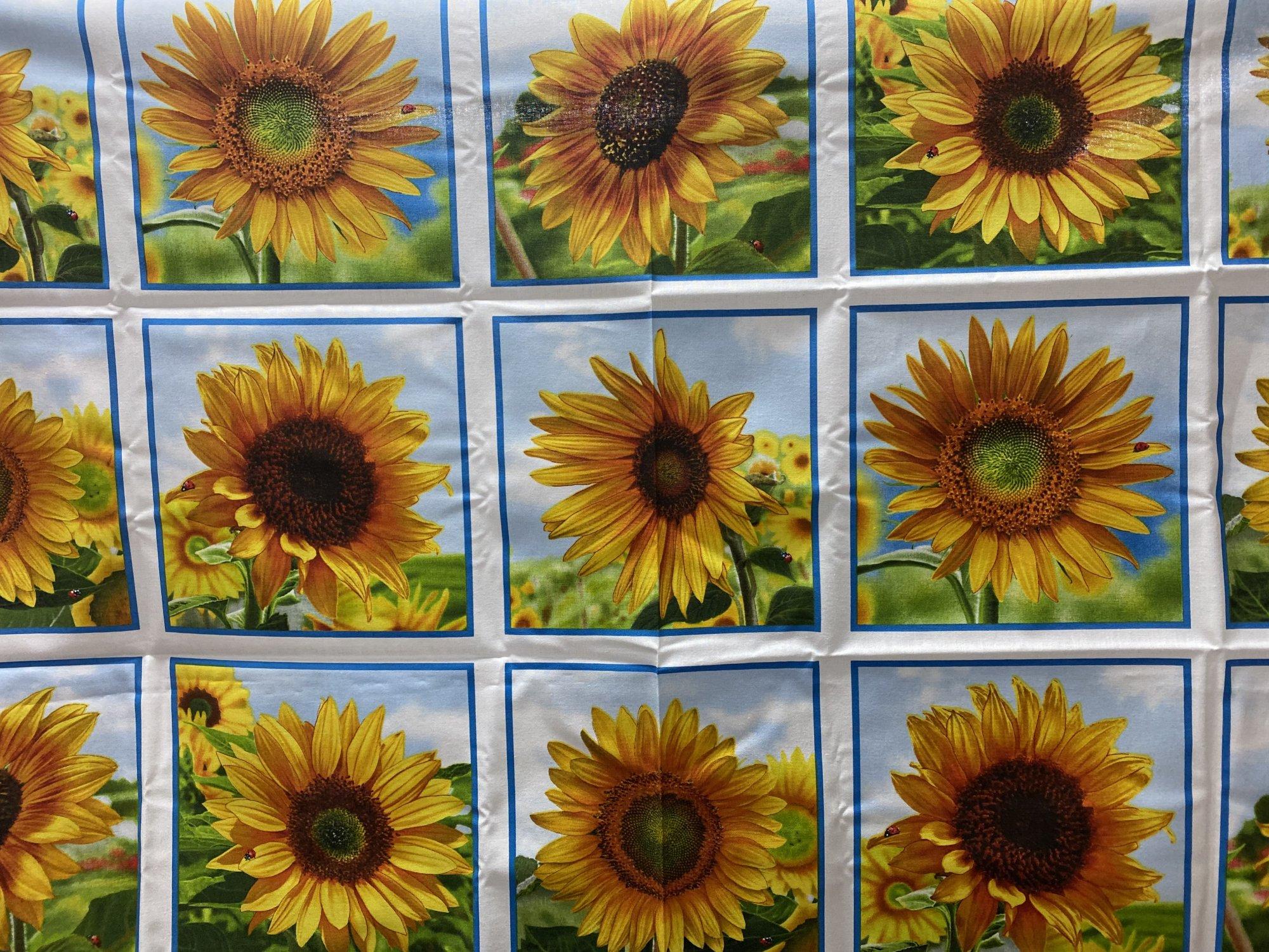 Elizabeth Studios Sunflower panel Quilt as you go