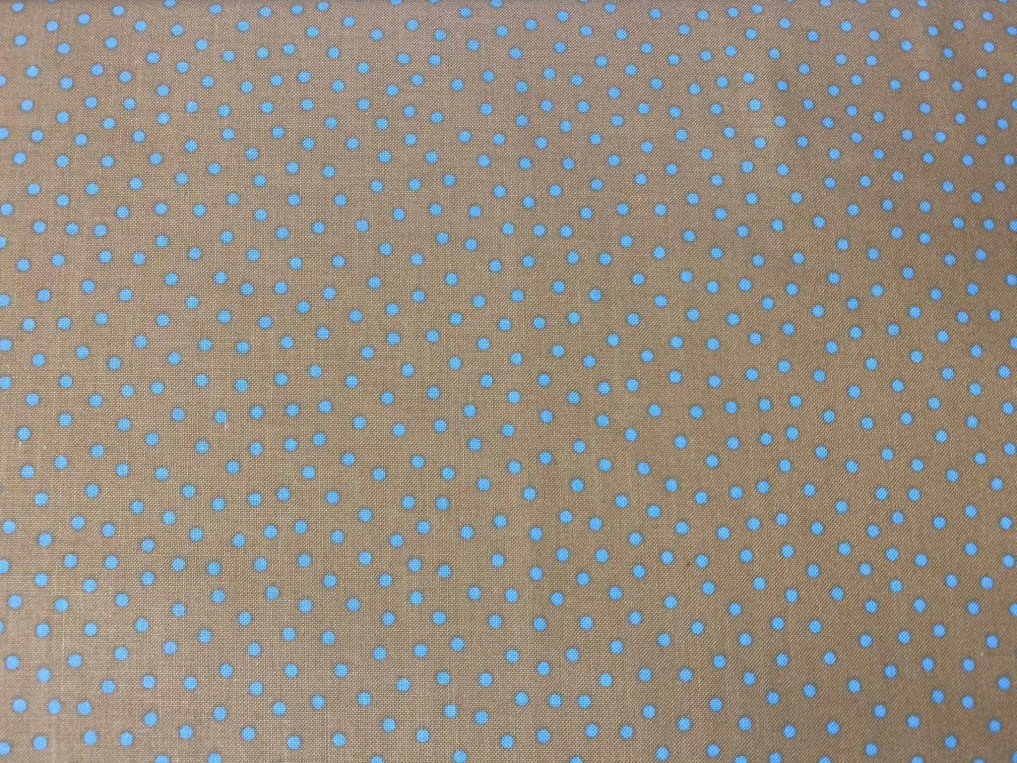 choice fabrics CD-18409-002 tan/blue dot