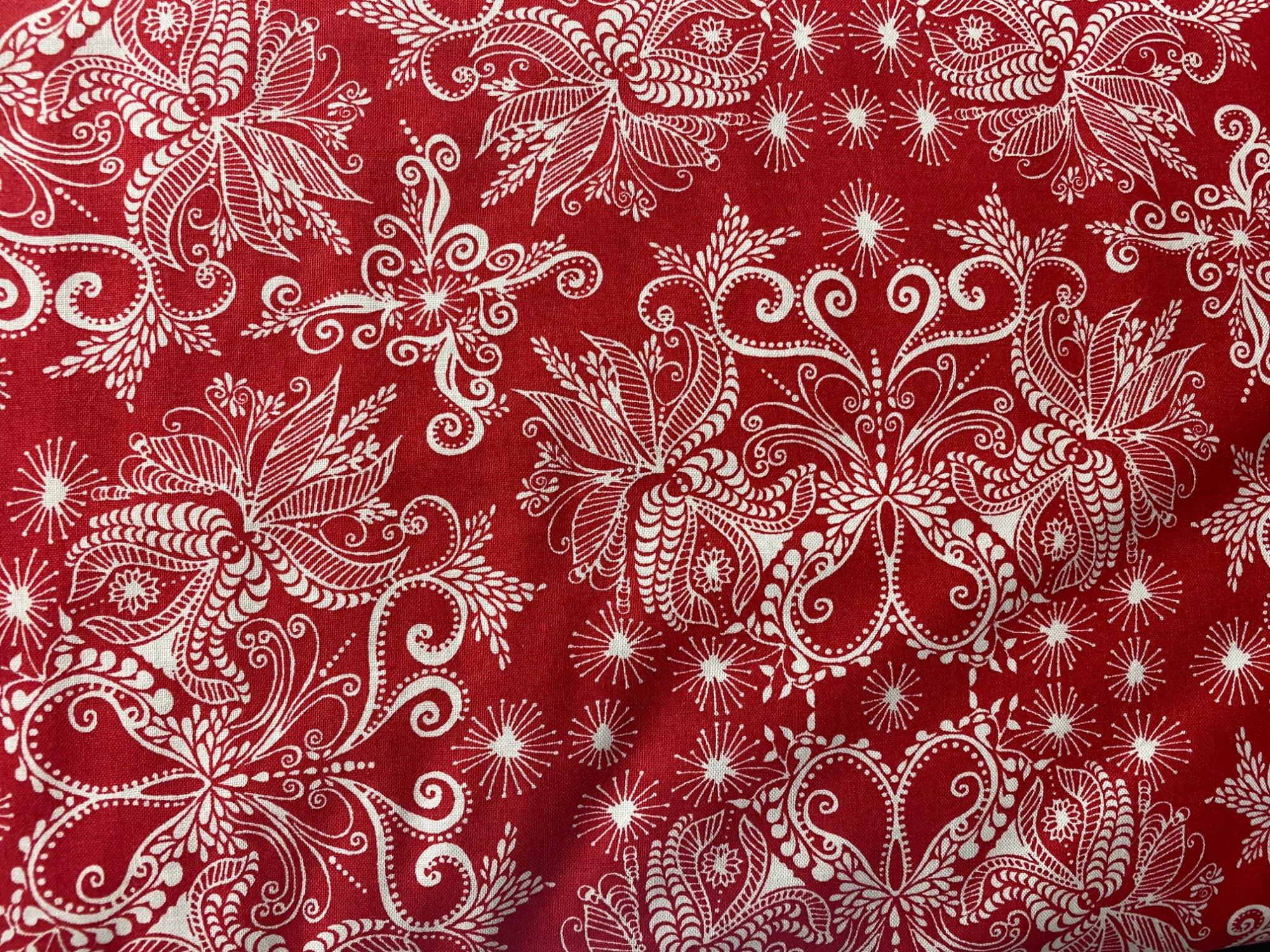 Choice fabrics ZD-57423-003 red Christmas fern