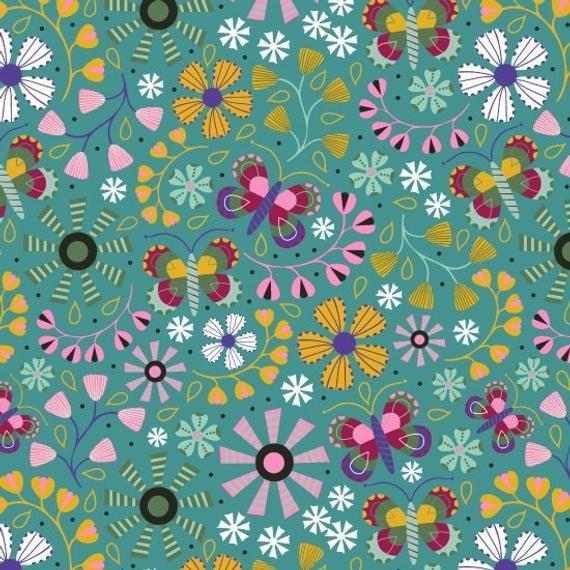 Blank teal floral 8364-066
