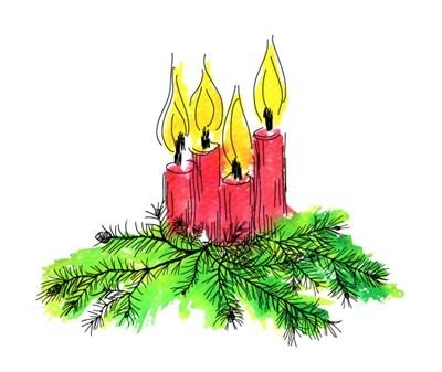 Red Rubber Cling Stamp- Watercolor Candle