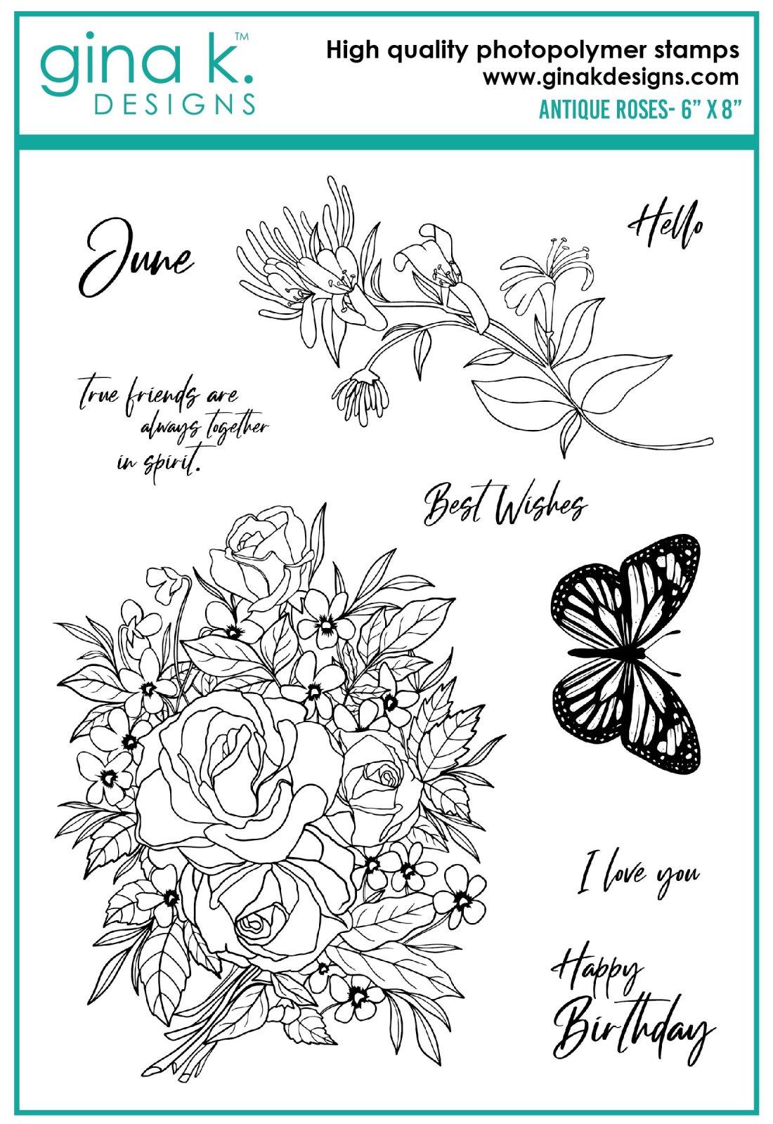 Gina K. Designs- Antique Roses Stamp Set