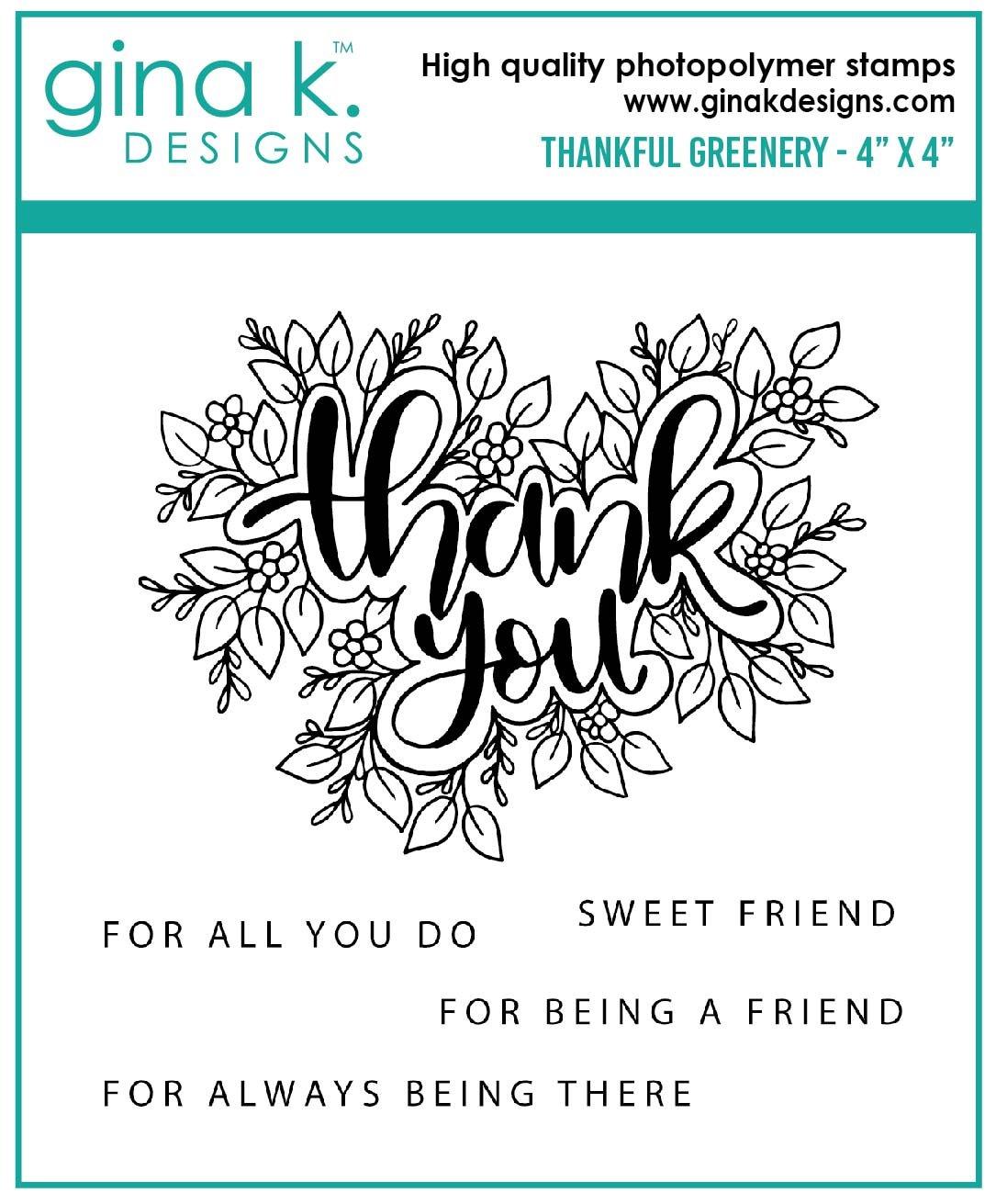 Gina K. Designs Thank You Greenery Stamp Set