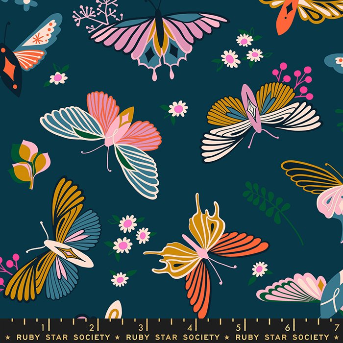 Flutter in Peacock - PREORDER - Stay Gold by Melody Miller - Ruby Star Society Fabrics