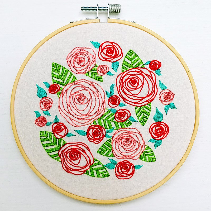 Coming Up Roses Embroidery Kit - cozyblue