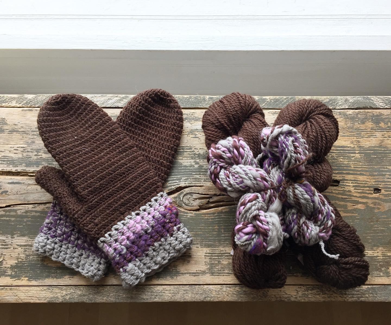 Crochet Mitten Kit with Handspun yarn