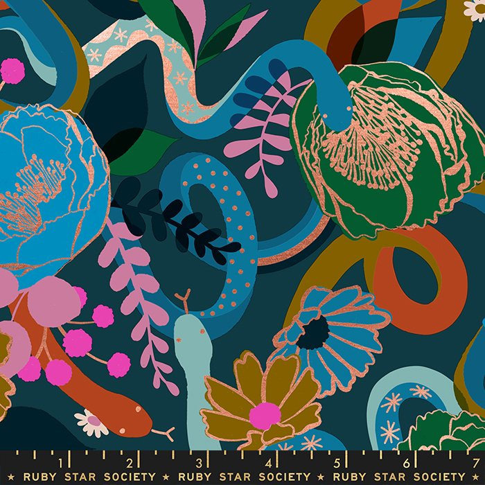 Dream in Peacock (metallic) -  Rise by Melody Miller - Ruby Star Society Fabrics