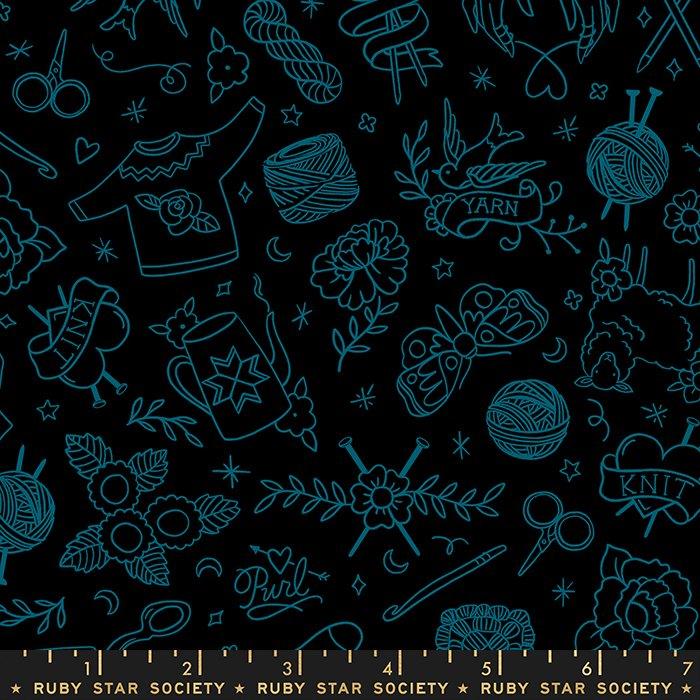 Yarn Flash in Black - Purl by Sarah Watts - Ruby Star Society Fabrics