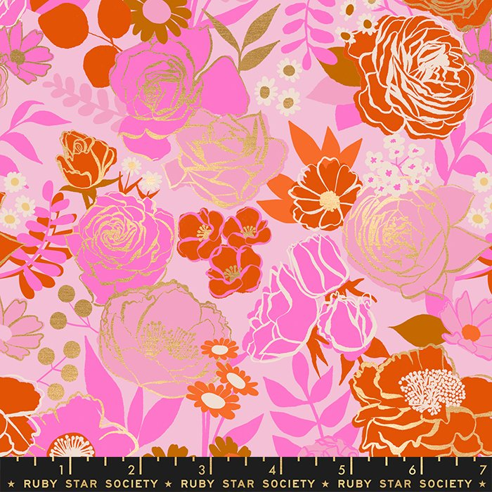 Grow in Peony (metallic) -  Rise by Melody Miller - Ruby Star Society Fabrics