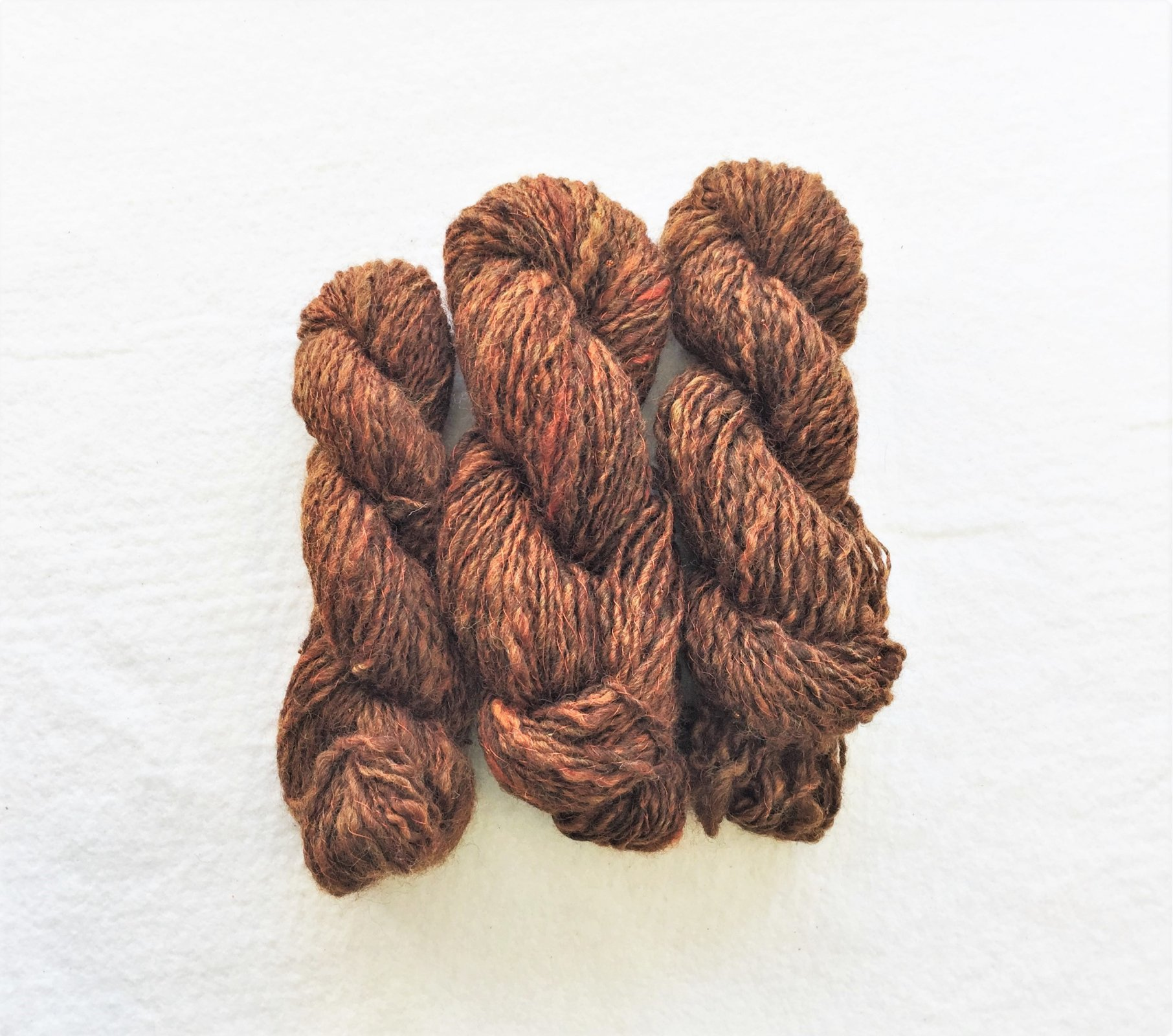 Dewdrops in Rust - Fibers by Laura - Handspun Corriedale Wool, thread plied with glass beads