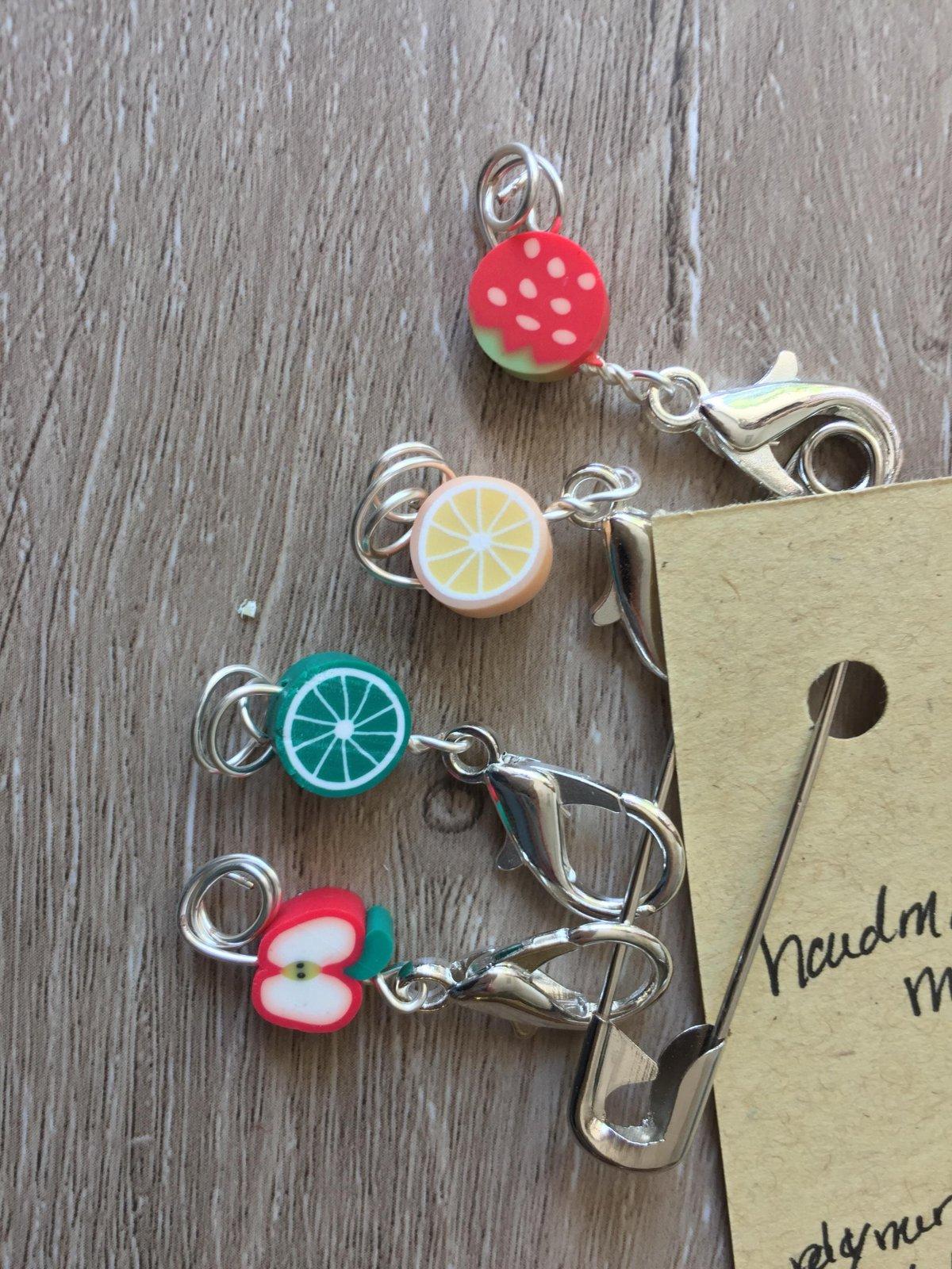 Fruity Stitch Markers - handmade knitting accessory