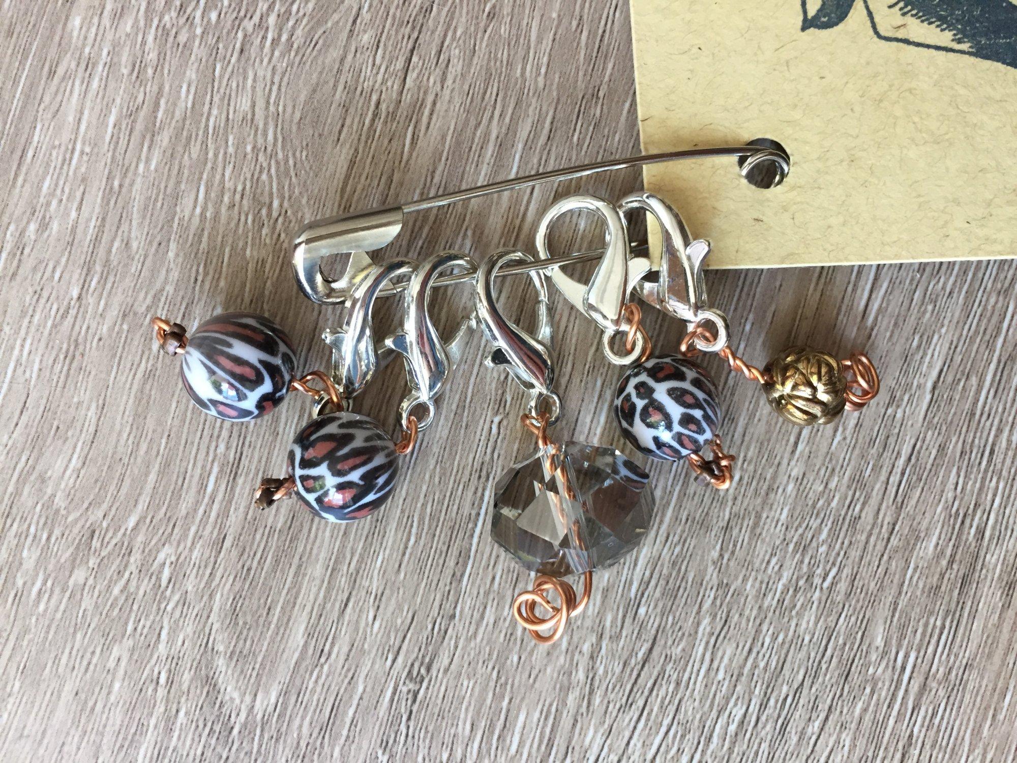 Leopard Print Stitch Markers - handmade knitting accessory