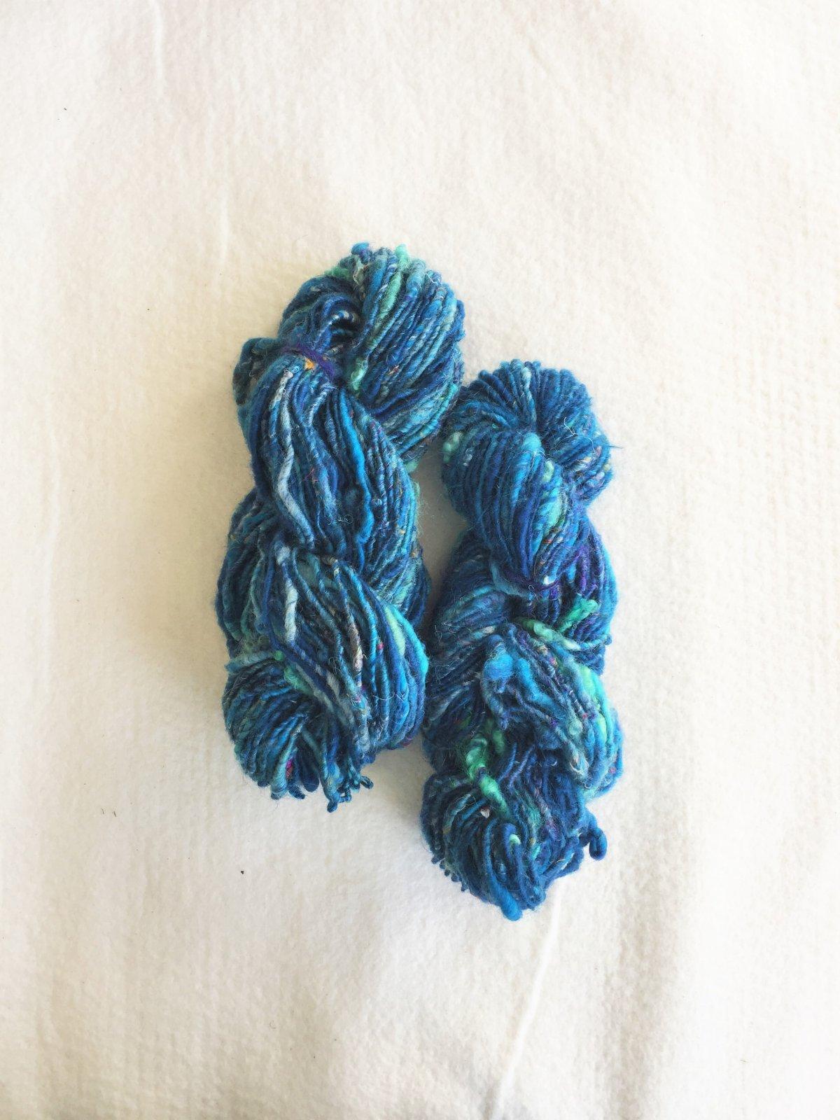 Blue Wave - Fibers by Laura - Handspun Merino Wool, Sari Silk, Wool Locks and Mohair - Super Bulky Weight Yarn