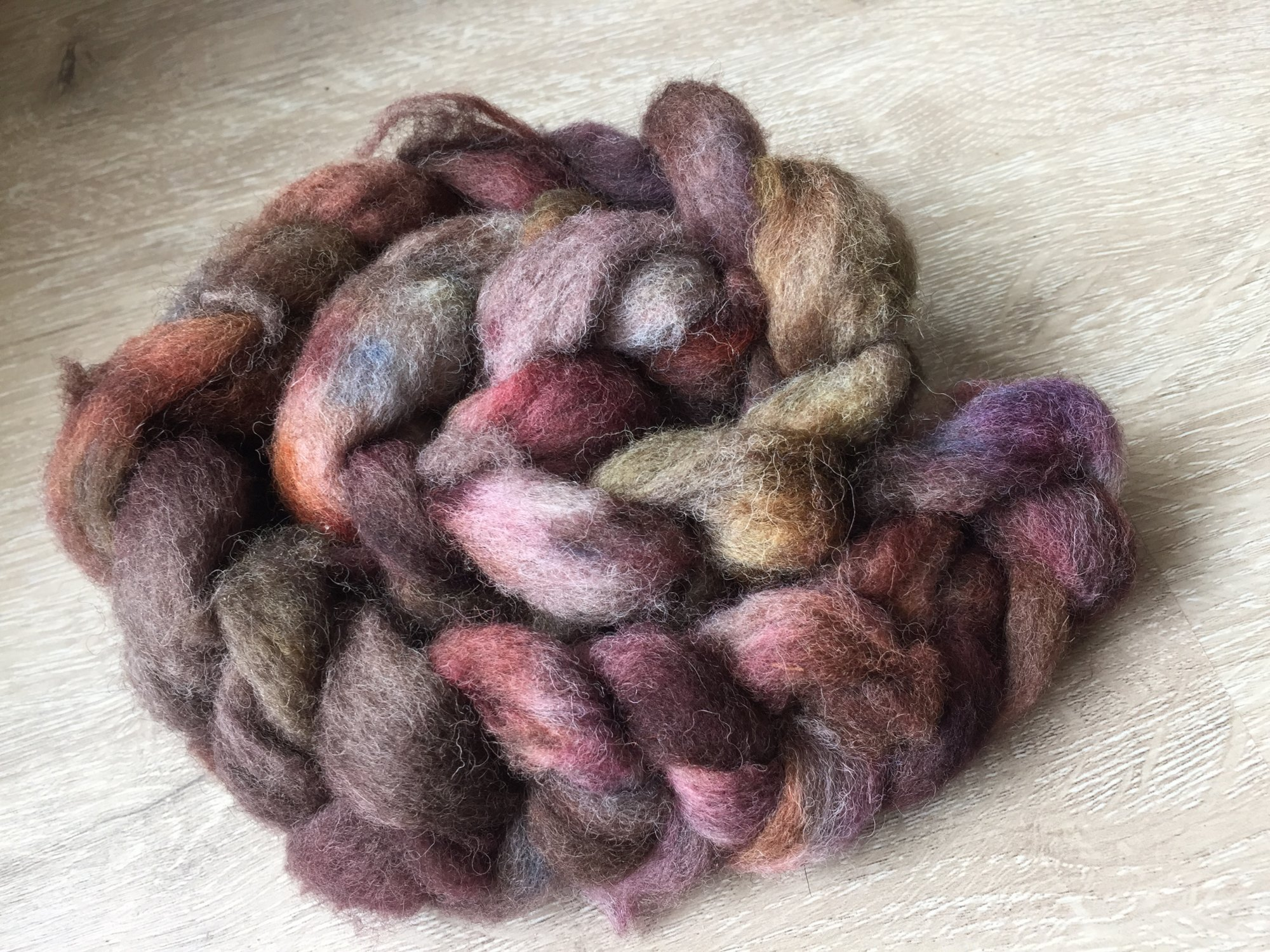 Jacob Wool Roving - Hand Dyed Pindrop Fibers