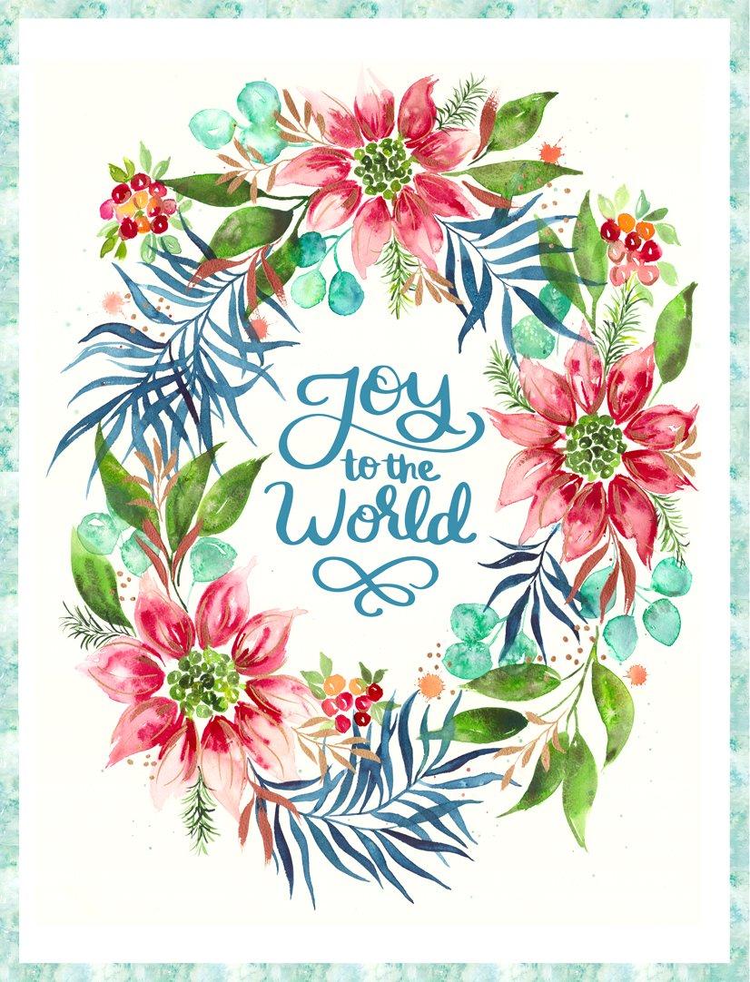 Joy to the World Fabric Panel - Starflower Christmas by Laura Muir