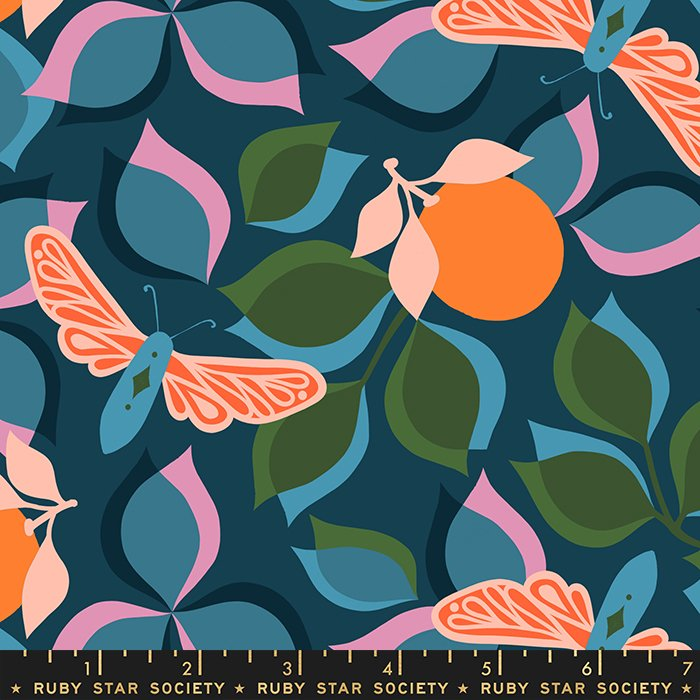New Leaf in Peacock- PREORDER - Stay Gold by Melody Miller - Ruby Star Society Fabrics