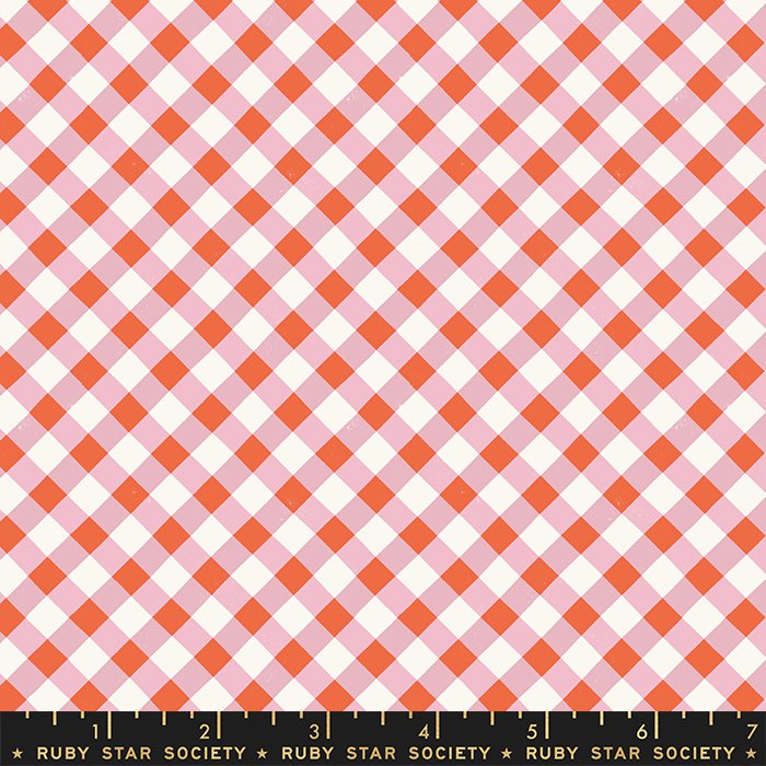 Painted Gingham in Kiss - Food Group by Kim Kight of Ruby Star Society