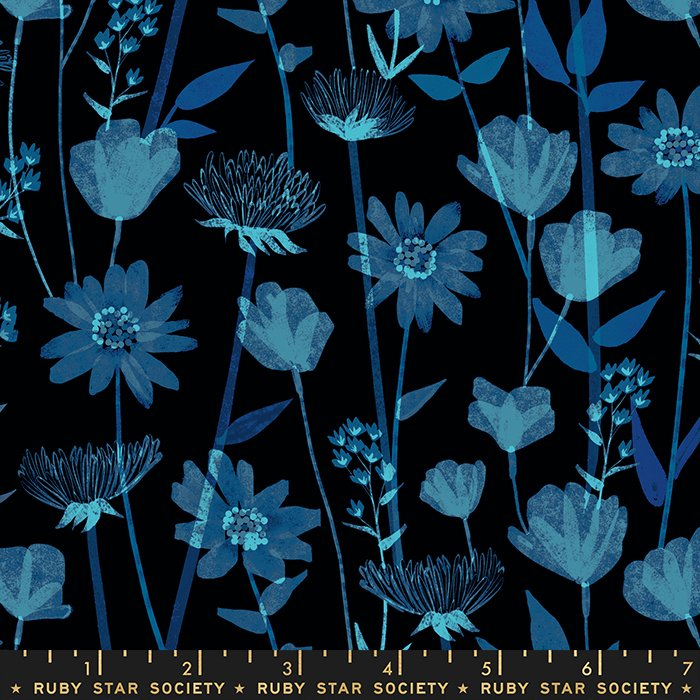 Wildflowers Rayon in Black - PREORDER - Stay Gold by Melody Miller - Ruby Star Society Fabrics