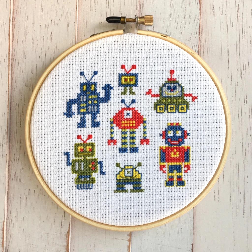 Robot Counted Cross Stitch DIY KIT
