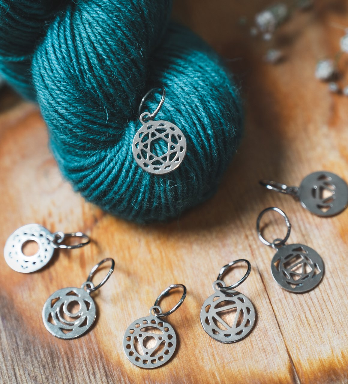 Sterling Silver Plated Chakra Stitch Markers - Knitter's Pride Mindful Collection
