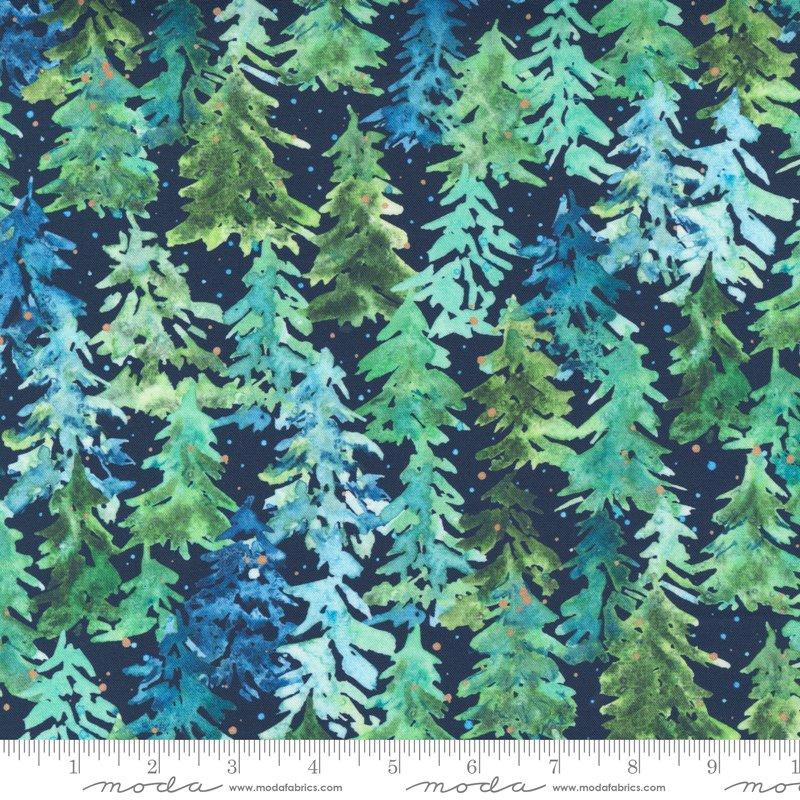 PREORDER - Winter Pines in Navy - Starflower Christmas by Laura Muir
