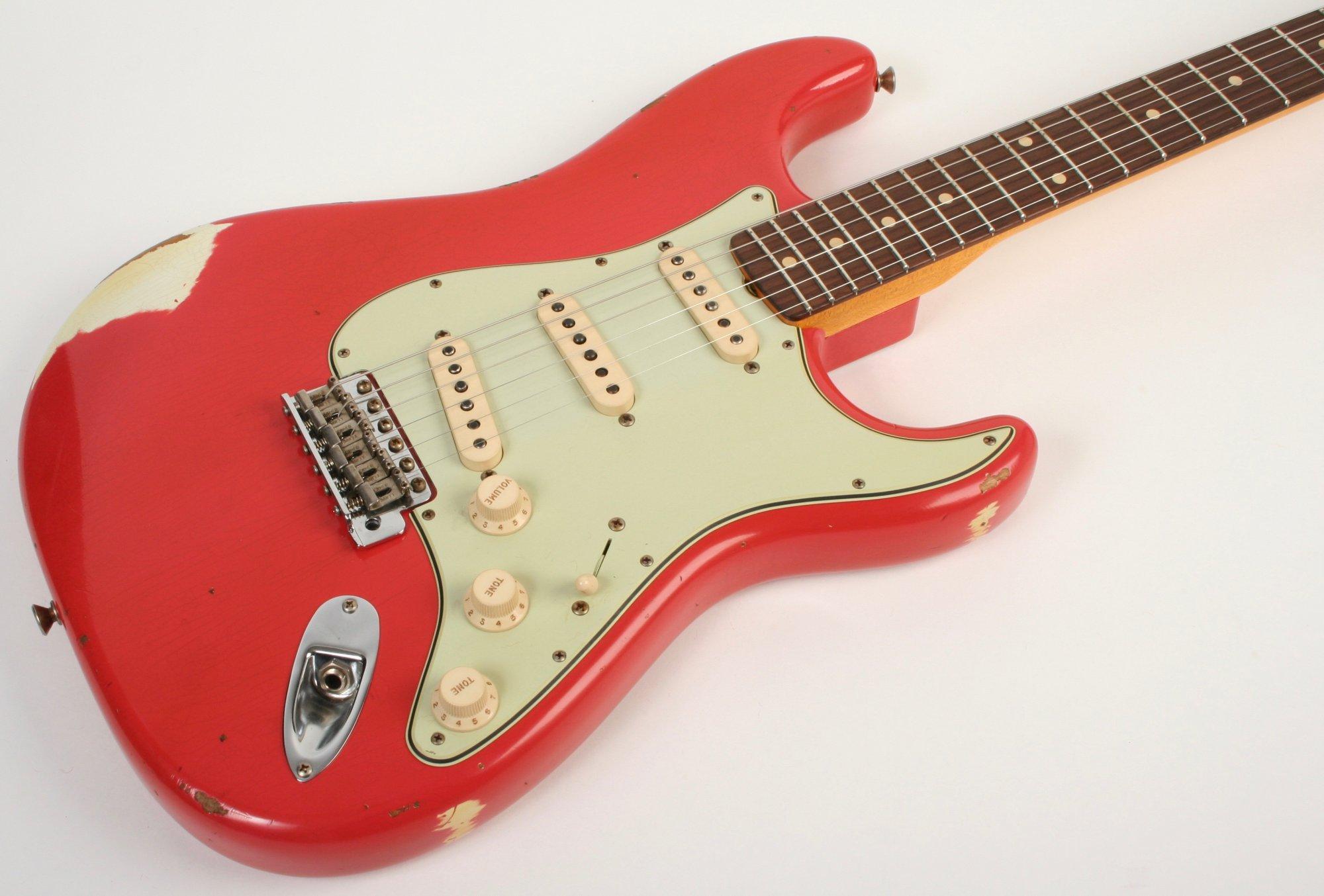 Fender Custom Shop 1963 Stratocaster Relic Fiesta Red over Olympic White