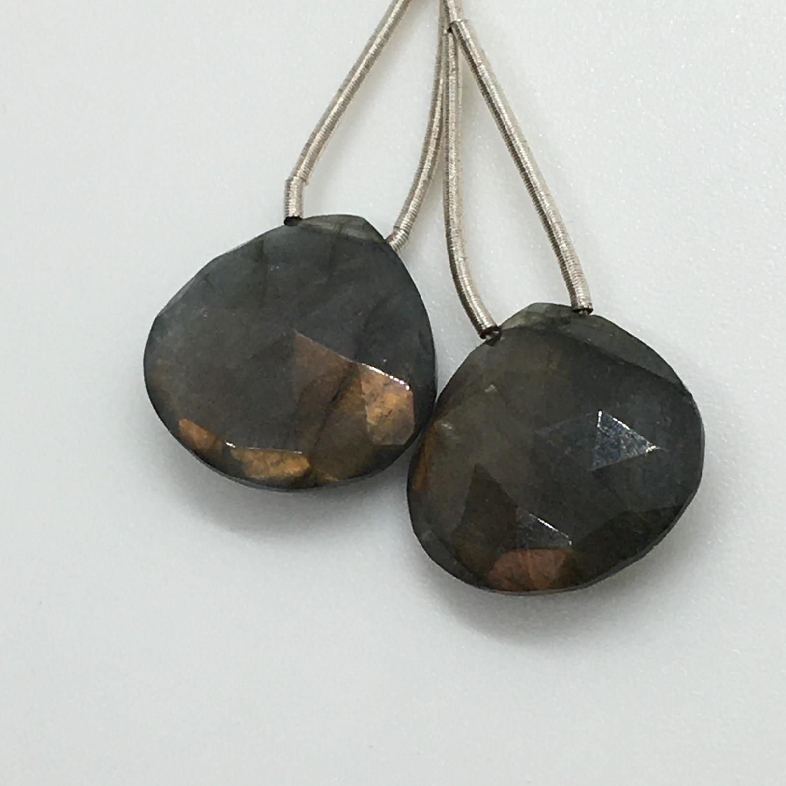 Labradorite faceted teardrop pair 24.55cts