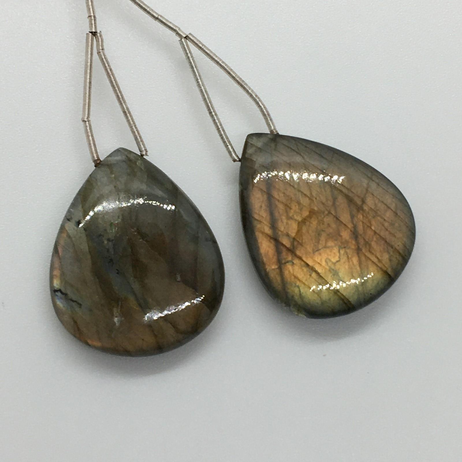 Labradorite smooth teardrop pair 84cts