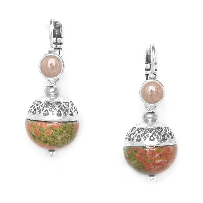 Moon French Unakite earrings