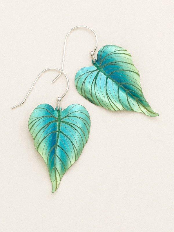 Turquoise/green tropical heart earrings