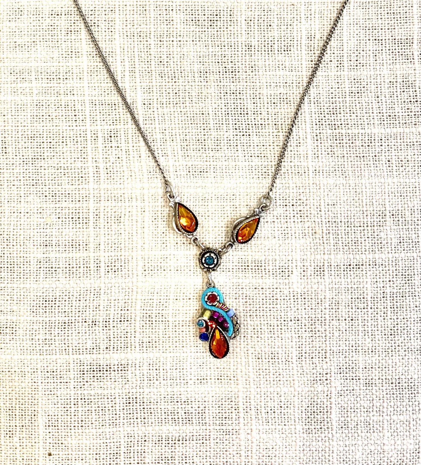 Lily drop necklace- multicolor