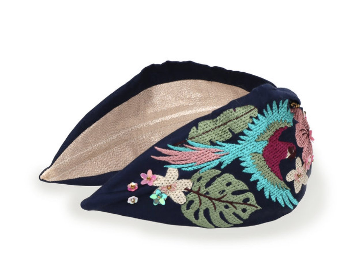 Embroidered Headband - Parrot