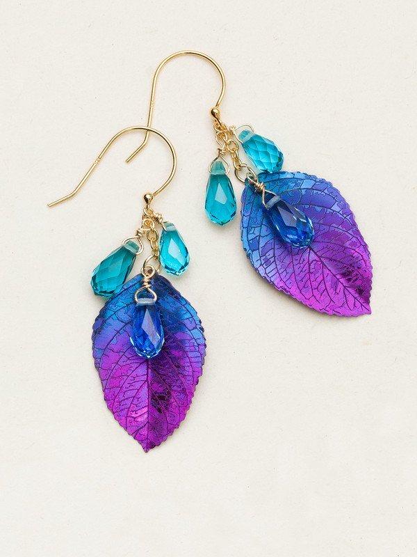 Blue/purple cascading Elm earrings